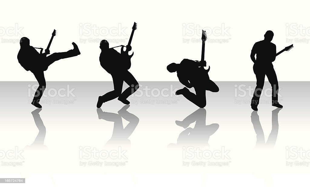 Silhouettes of guitarists vector art illustration