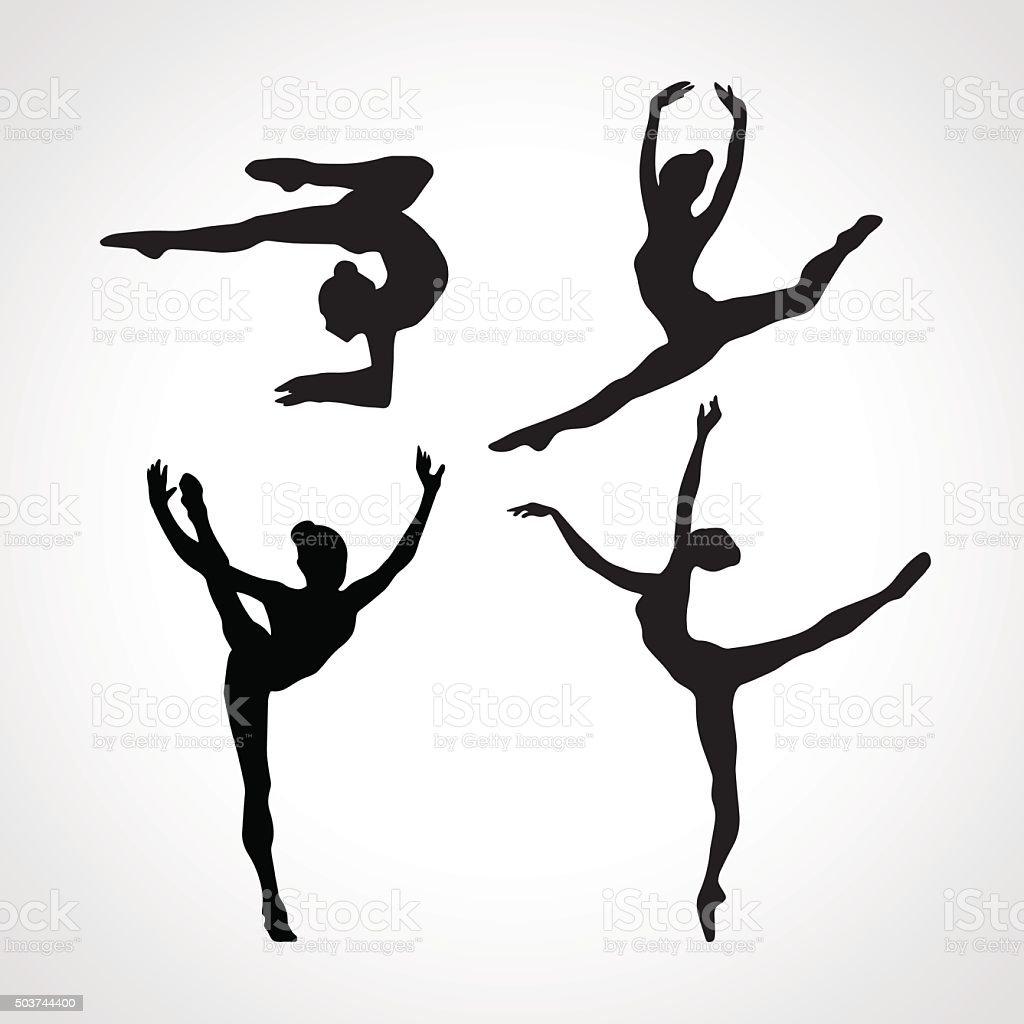 Siluetas de gymnastic las niñas. Arte vectorial de gimnasia - ilustración de arte vectorial