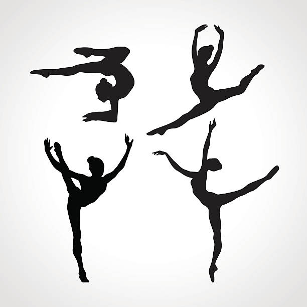 silhouettes of gymnastic girls. art gymnastics vector set - gymnastics stock illustrations, clip art, cartoons, & icons