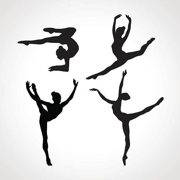 シルエットの女の子 gymnastic ます。アート体操ベクトルセット - 体操競技点のイラスト素材/クリップアート素材/マンガ素材/アイコン素材