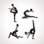 Collection 4 Creative silhouettes of gymnastic girls. Art gymnastics with ball, black and white vector illustration set