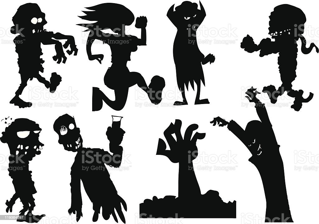 Silhouettes of Halloween monsters royalty-free stock vector art