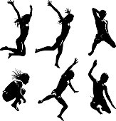 Line art Silhouettes of happy Asian Kids Jumping into water. Isolated on white.