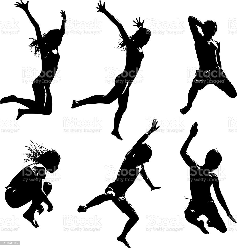 Silhouettes of Happy Asian Kids Jumping vector art illustration
