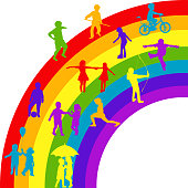 istock Silhouettes of happy kids playing on rainbow 1311397302