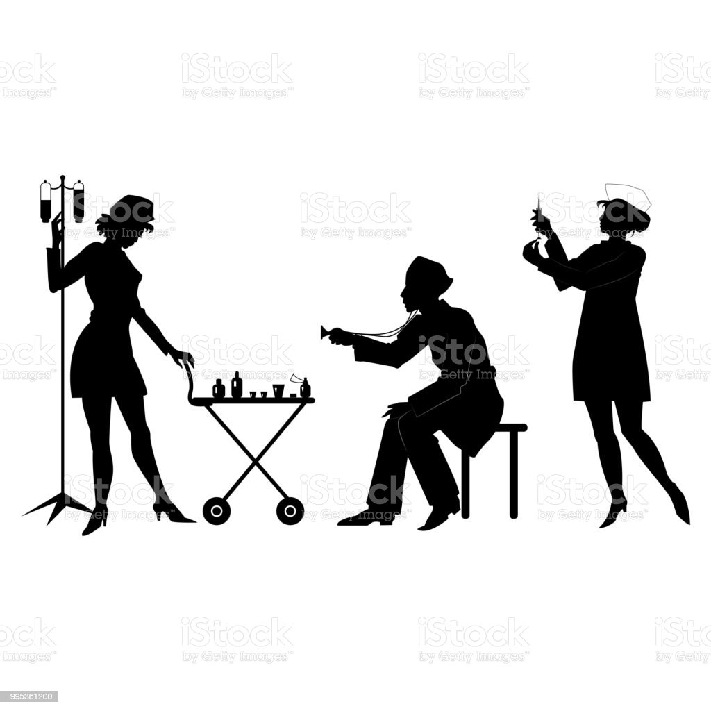 Silhouettes of health workers in a situation vector art illustration