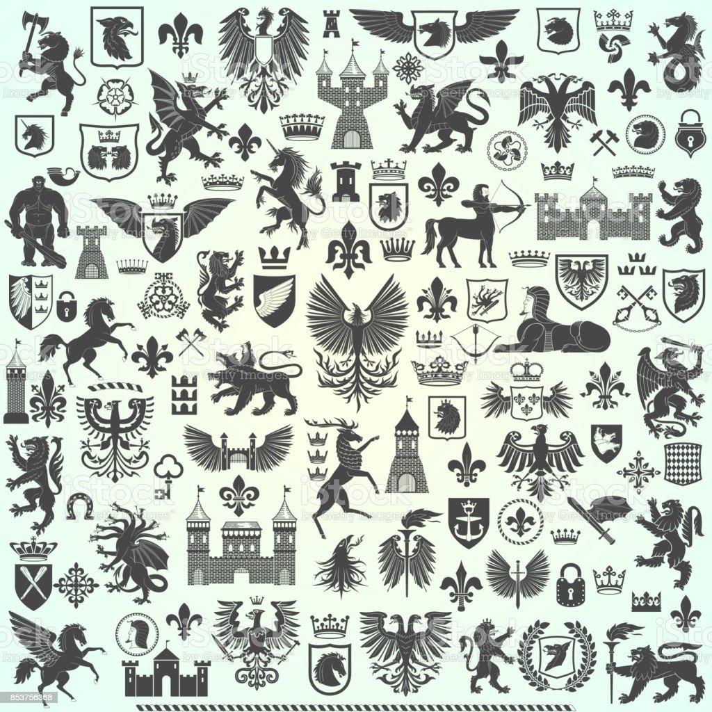 Siluetas de elementos heráldicos ilustración de siluetas de elementos heráldicos y más vectores libres de derechos de abrigo libre de derechos