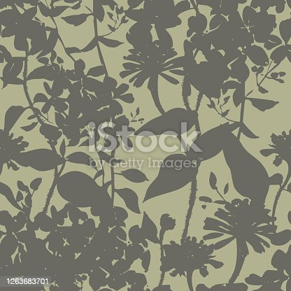 istock Silhouettes of herbs and meadow wildflowers. Botanical seamless pattern. Modern summer background in nature motif. Floral shadows. Imprint plants. Designed for fabric, print for dress, clothes. 1263683701
