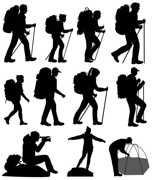 Silhouettes of hiking people Collection of silhouettes of mans and womans in hike hiking stock illustrations