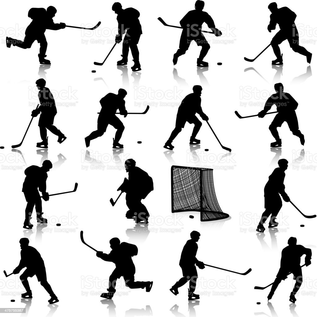 silhouettes of hockey player vector art illustration
