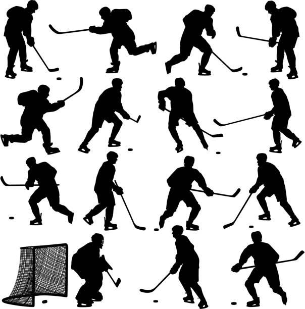 ilustrações, clipart, desenhos animados e ícones de silhuetas de jogador de hóquei - hóquei
