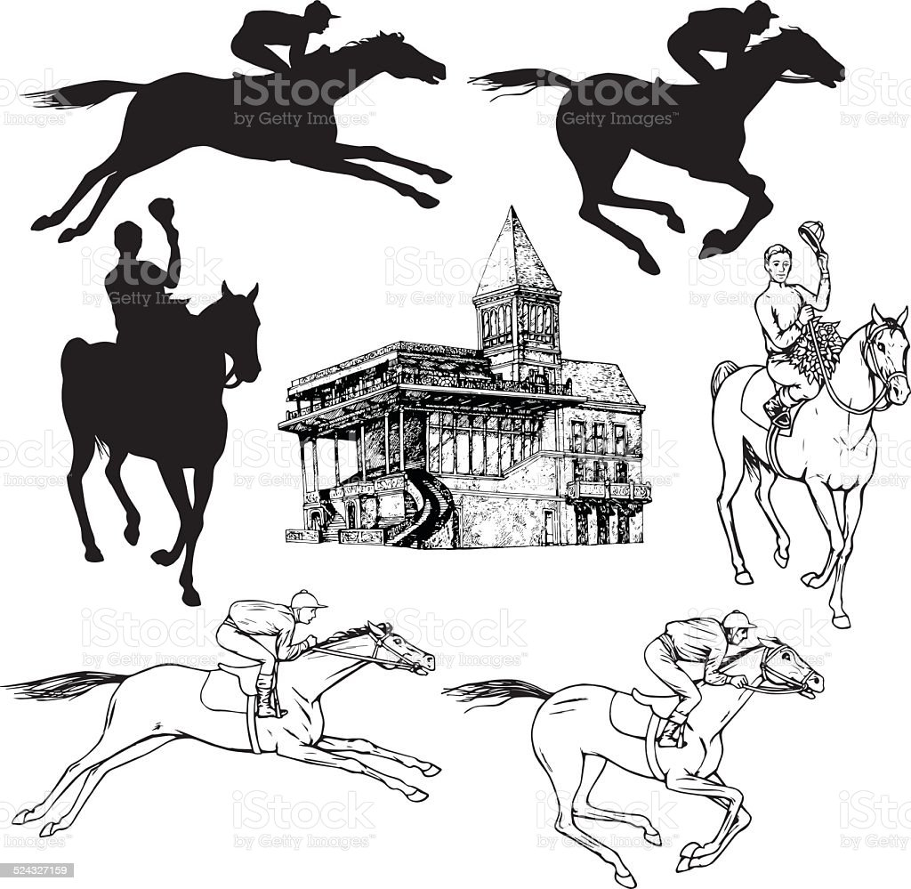 Silhouettes of horses and jockeys vector art illustration