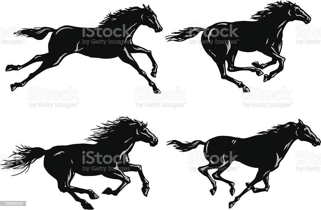 Silhouettes of Horses Running vector art illustration