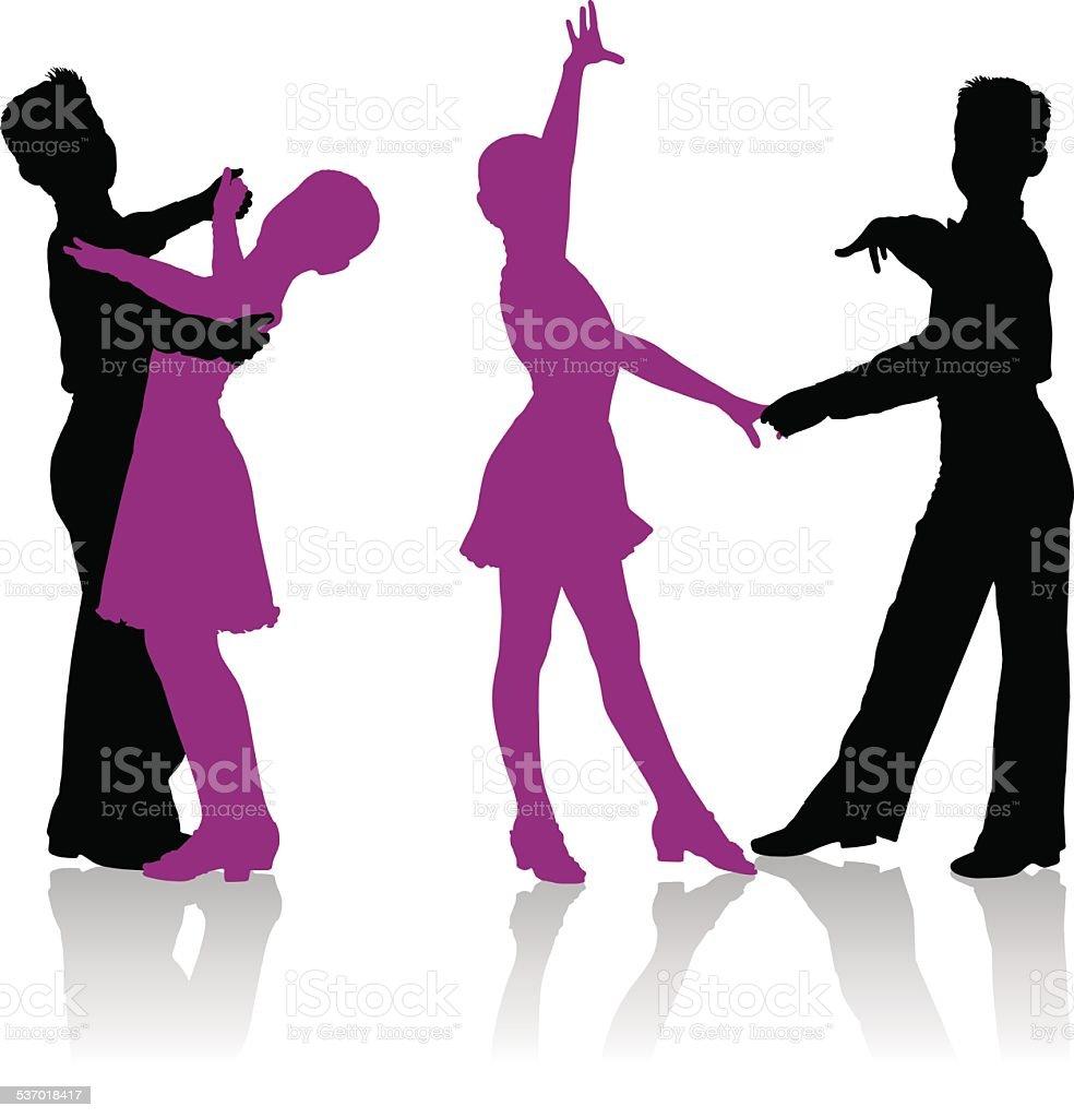Silhouettes of kids dancing ballroom dance vector art illustration