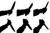 Silhouettes of killing knife in hand, isolated. Vector set