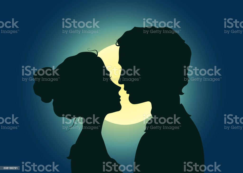 Silhouettes of kissing couple vector art illustration