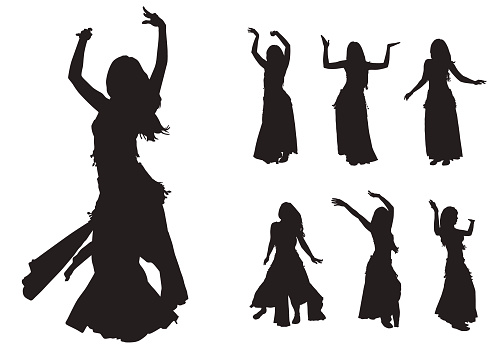 Silhouettes of ladies belly dancing