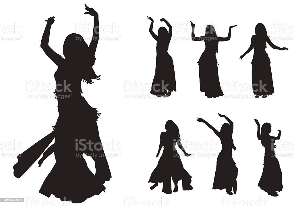 Silhouettes of ladies belly dancing  vector art illustration