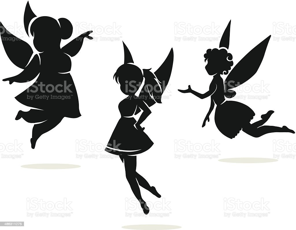 silhouettes of little fairies vector art illustration