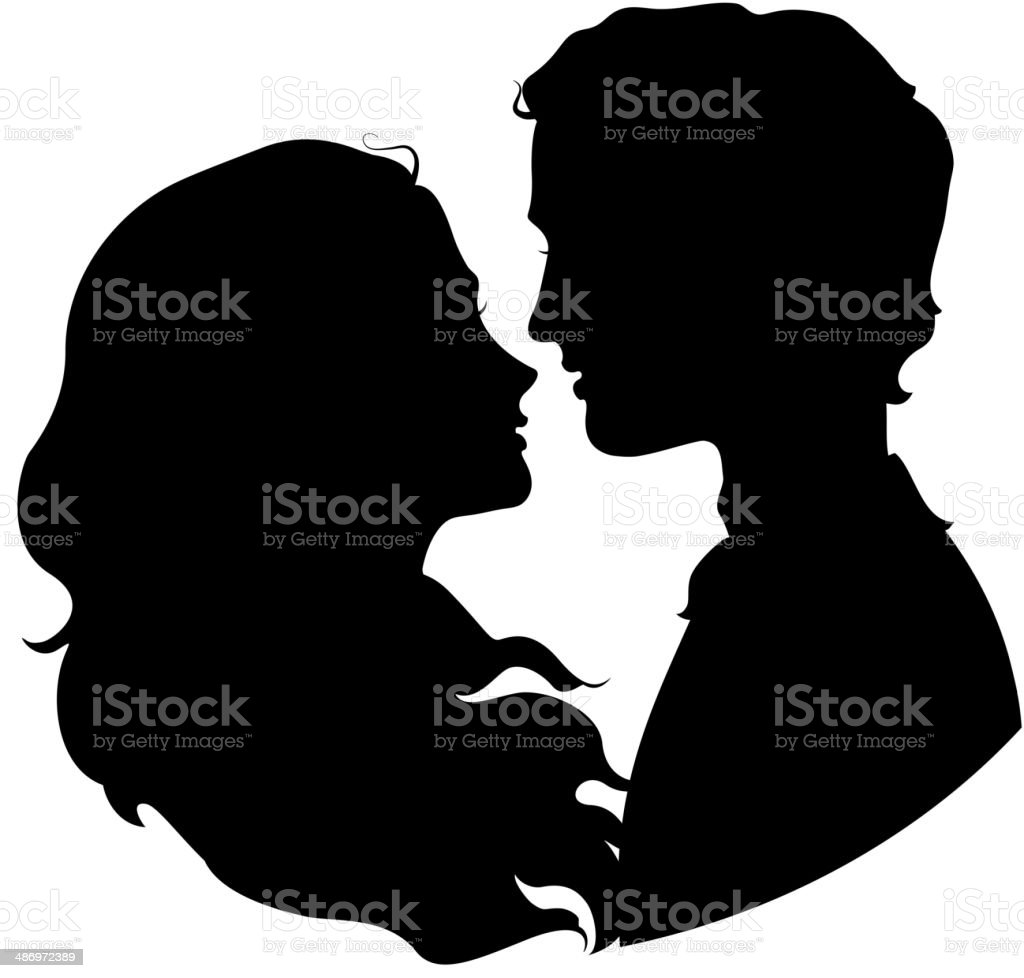 Silhouettes of loving couple vector art illustration