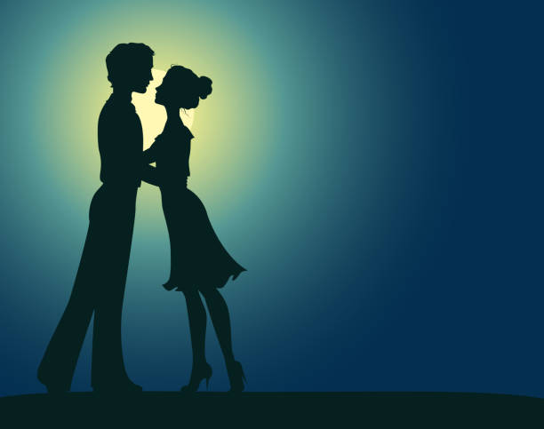silhouettes of man and woman - date night stock illustrations
