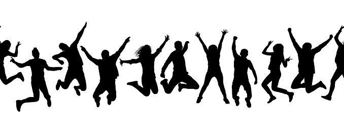 Silhouettes of many different jumping people, seamless pattern. Isolated on white background.