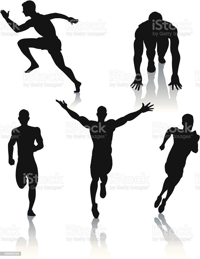 Silhouettes of men sprinting vector art illustration