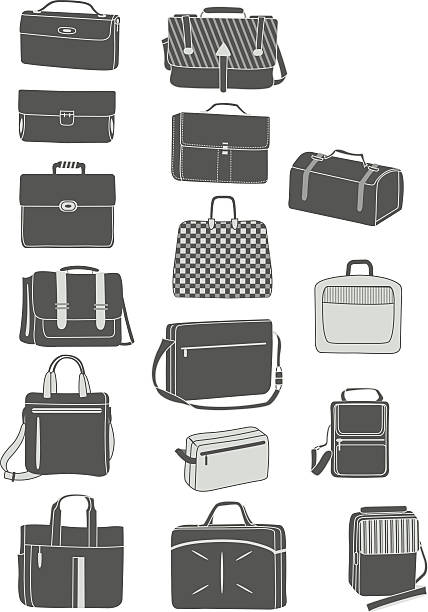 silhouetten der männer handtaschen - laptoptaschen stock-grafiken, -clipart, -cartoons und -symbole
