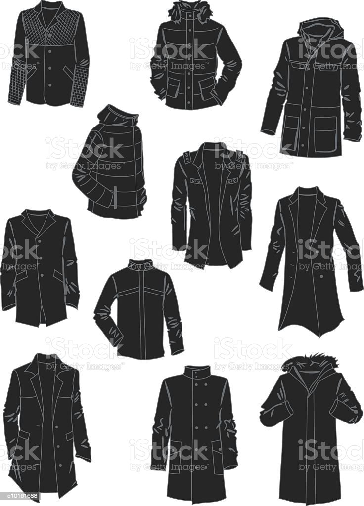 Silhouettes of men's jackets and coats vector art illustration