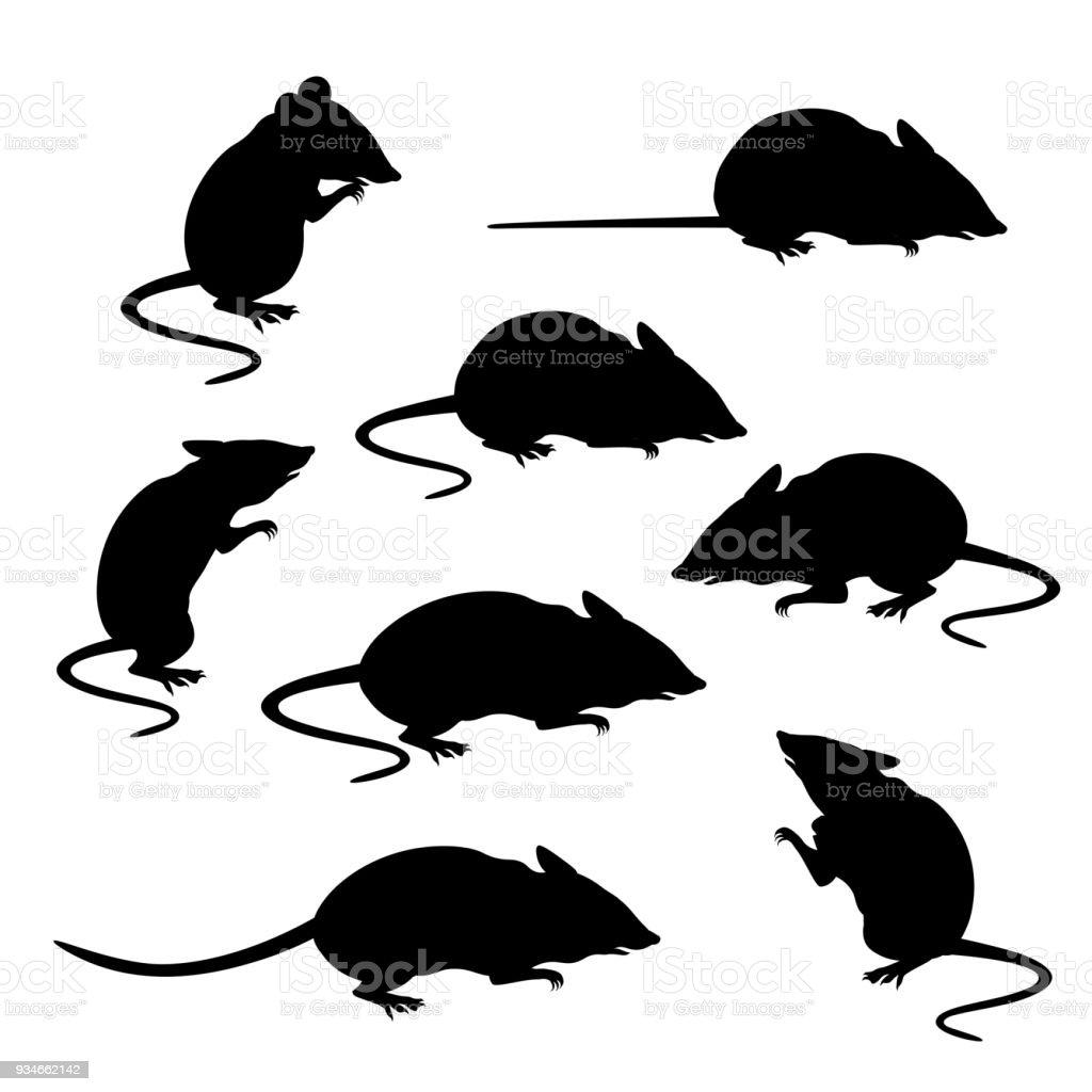 Silhouettes of mice vector vector art illustration