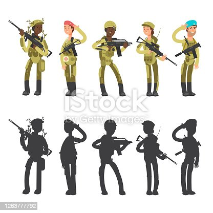 istock Silhouettes of military man and woman, cartoon characters vector illustration 1263777792