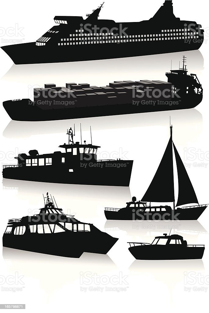 Silhouettes of modern vessels and boats vector art illustration