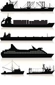 Isolated silhouettes of two cargo ships, a supertanker, a cruise ship, and two fishing boats. The windows are separated from the main black silhouettes to easily delete them or change their colors.