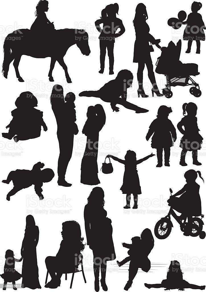 Ilustración De Siluetas De Madre E Hija Y Más Banco De Imágenes De