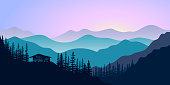 silhouettes of mountains, chalet and forest at sunrise. Vector illustration. mountains, hills, trees, house, mist, sun beam with sunrise or sunset sky. For prints, posters, wallpapers web background