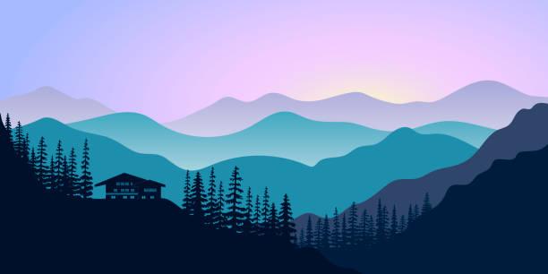 illustrazioni stock, clip art, cartoni animati e icone di tendenza di silhouettes of mountains, chalet and forest at sunrise. vector illustration. - monte bianco