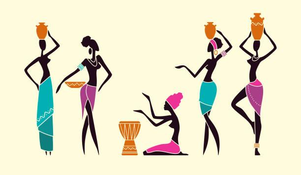 illustrazioni stock, clip art, cartoni animati e icone di tendenza di silhouettes of native african women - bambine africa