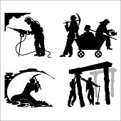 Silhouettes of of the miners in different situations on a white background