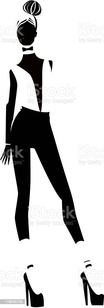 Silhouettes of one girls royalty-free stock vector art