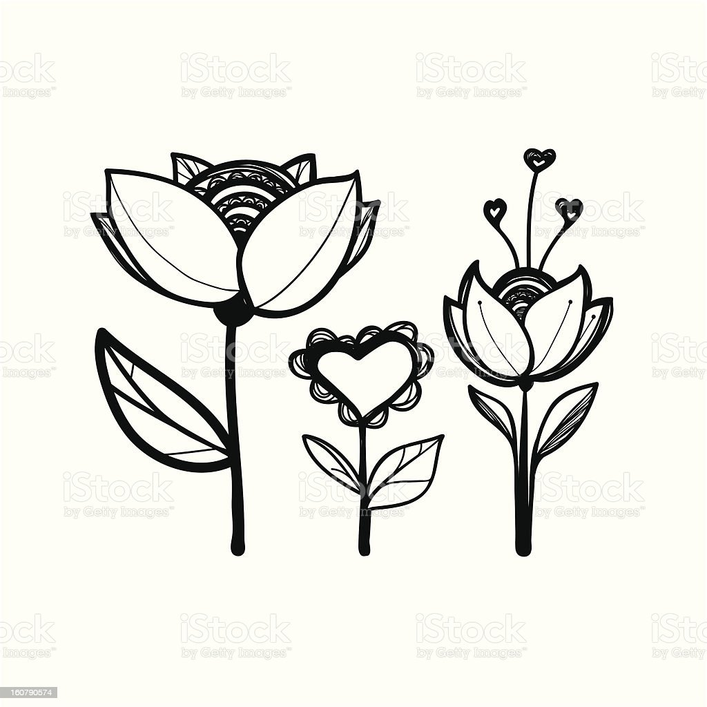 Silhouettes of ornamental plants royalty-free stock vector art