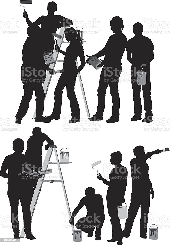 Silhouettes of painters vector art illustration