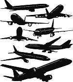 Detailed vector silhouettes of commercial aircrafts seen from different angles. The windows, doors and engine blades are separated from the main black silhouettes to easily delete them or change their colors.