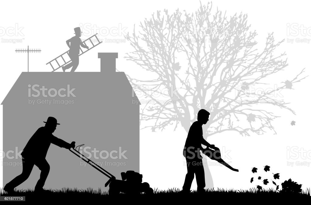 Silhouettes of people cleaning the garden. vector art illustration