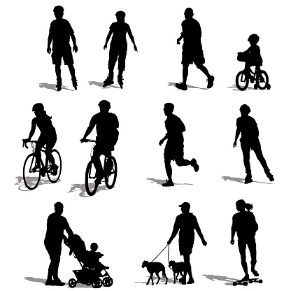 Silhouettes of People Exercising