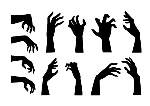 Silhouettes of people hand in horror pose like a Zombie for decorate in Halloween theme.