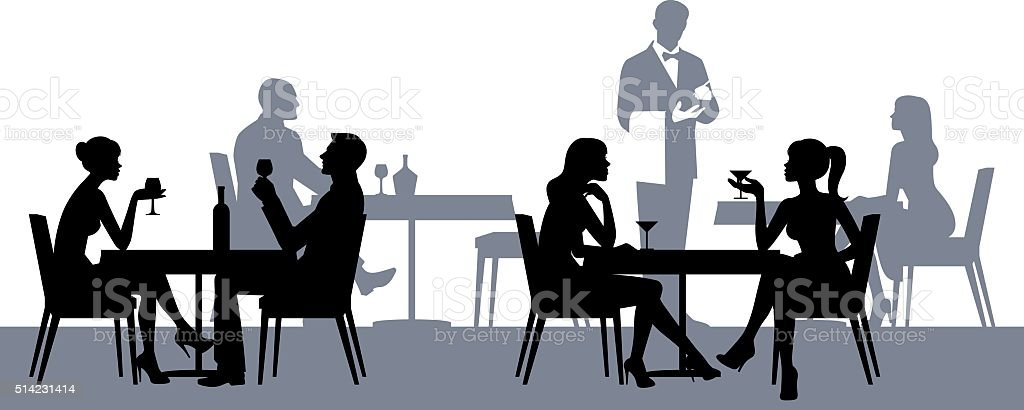 Silhouettes of people in the restaurant or cafe vector art illustration