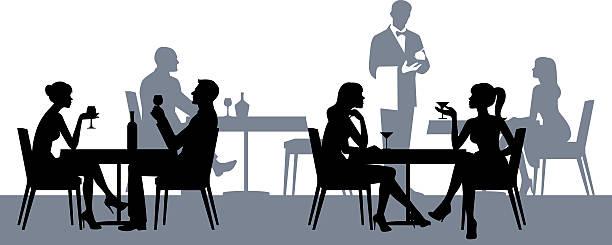 illustrazioni stock, clip art, cartoni animati e icone di tendenza di silhouette di gente al ristorante o bar - dinner couple restaurant