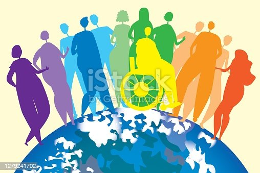 Silhouettes of people, disabled people in a wheelchair as an end to the inclusiveness of the lgbtq community. Vector stock illustration with homosexuals, planet earth as an international concept