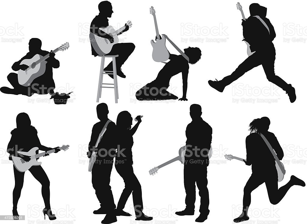 Silhouettes of people playing guitar vector art illustration