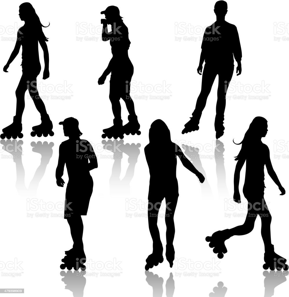Silhouettes of people rollerskating vector art illustration